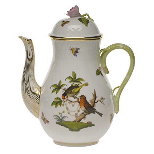 Bird Pot Coffee - Herend Rothschild Bird Coffee Pot With Rose