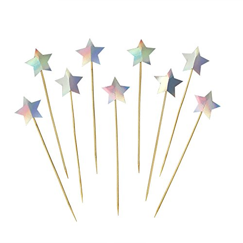 (DIY Laser Foil Star Cake Cupcake Toppers Picks for Wedding Birthday Baby Shower Kids' Party Decorations 50 PCS)