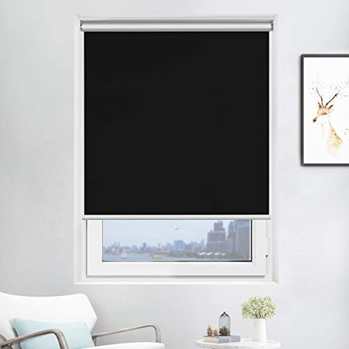 Black Roller Shade - Acholo Blackout Roller Shades Black Roller Blinds for Windows 31 inch x 72 inch, Cordless Window Roller Shade for Home