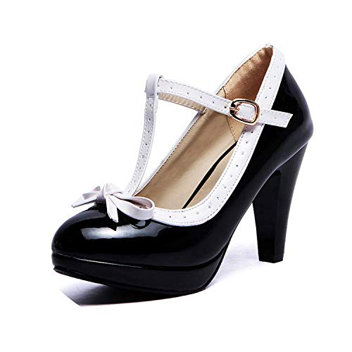 Plus Size 32-48 Women Summer High Heels Shoes T Strap Bow Daily Work Dress Footwear,Black,10.5 ()