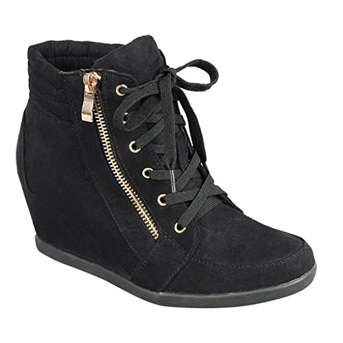 SNJ Women High Top Wedge Heel Sneakers Platform Lace Up Shoes Ankle Bootie Trends Black-1