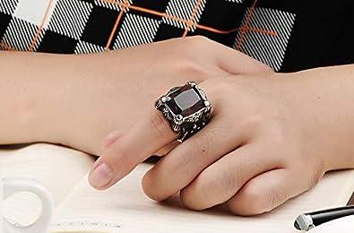 589219a409b0fb Men Ring Titanium Steel Vintga Classic Red Diamond Ring for Male US11 mr8-3