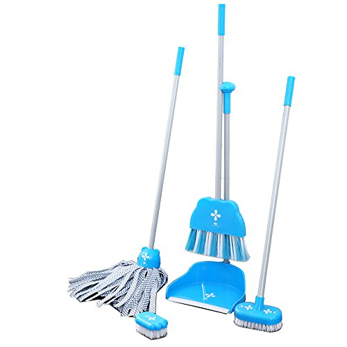 Aboo 5 Pieces Removable Cute Cleaning Tool Set Mop Dustpan Broom Brush and Long Handle Brush Animal Pattern for Classroom Home Office (Blue) by Aboo