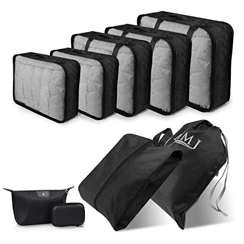 Travel Packing Cubes, 9 PCS Travel Organizer Set Foldable Luggage Bags Lightweight Travel Storage Pouch with Cable Storage Bag (black)