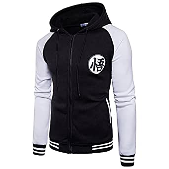 CHENMA Men Dragon Ball Goku Long Sleeve Full-Zip Bomber Jacket Hooded Varsity Jacket (M, Black&White)