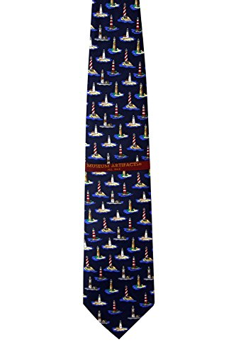 Blue Nautical Lighthouses in America Tie Necktie (Navy Blue Silk Necktie)