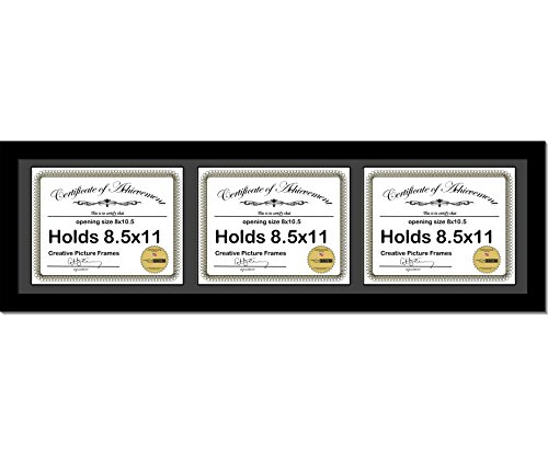 CreativePF [10x36bk-b] Black Horizontal 8.5x11 Triple Diploma Frame with 3 Opening Black Mat, Holds 3 8.5x11 inch Documents with Wall Hanger