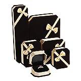 Tanchen 6PCS Jewelry Box Velvet Engagement Wedding Necklace Ring Pendant Jewelry Box Storage Box