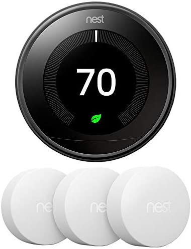 Google Nest T3018US Learning Thermostat third Gen Smart Thermostat, Mirror Black Bundle with 3-Pack Temperature Sensor
