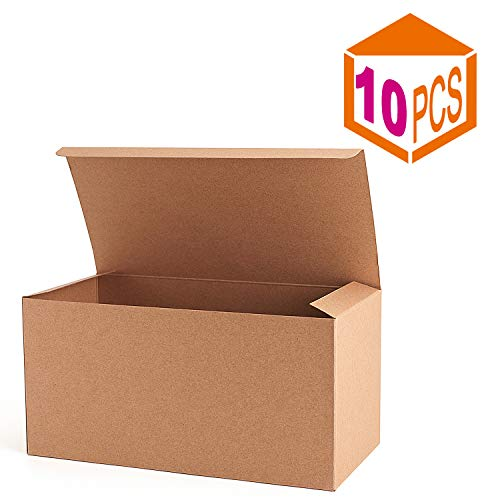 MESHA Recycled Gift Boxes 9x4.5x4.5 Inch Brown Paper Boxes 10PCS Kraft Favor Boxes for Party, Wedding, Gift -