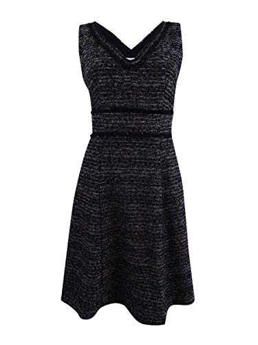 Nanette Nanette Lepore Women's Sleeveless V-Neck Boucle Fit & Flare Dress with Self Fringe, Very Black/Multi, -