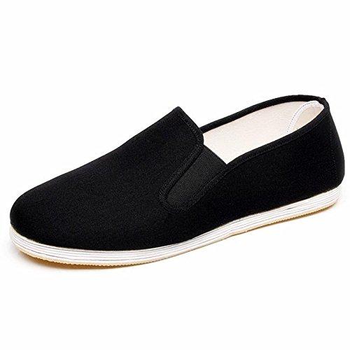 LvYuan Zapatos tradicionales chinos del paño de los hombres / zapatos cuadrados respirables retros ocasionales de la boca / Kung Fu / artes marciales / zapatos de la ji del Tai / zapatos hechos a mano Black