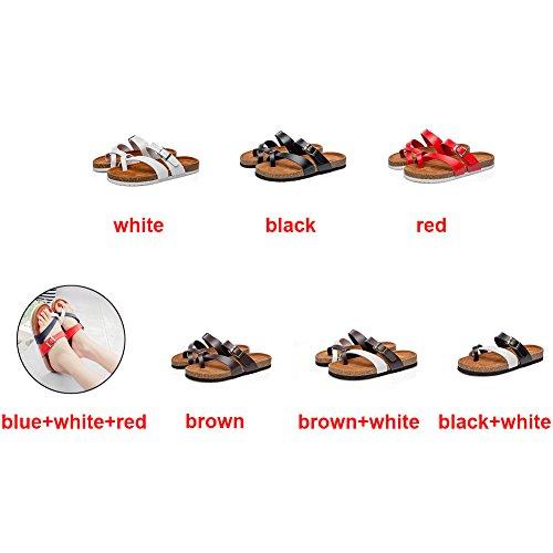 rotonda Flat spiaggia da donna estate testa pantofole Sdkmah9 uso per spiaggia l' quotidiano scarpe spiaggia sandalo per comode White donna scarpe moda o xA06wOv6