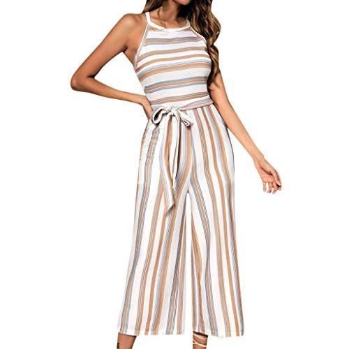 Ximandi Women's Sexy Off Shoulder Sleeveless Wave Striped Jumpsuit Clubwear Wide Leg Pants Outfit Khaki