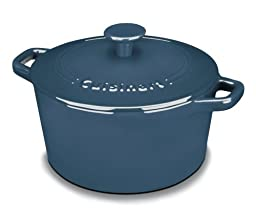 Cuisinart CI630-20BG Chef's Classic Enameled Cast Iron 3-Quart Round Covered Casserole, Provencal Blue