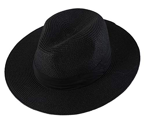 Lanzom Men Wide Brim Straw Foldable Roll up Hat Fedora Summer Beach Sun Hat UPF50+ (Style B-Black, Medium Size:Fit for 22.5