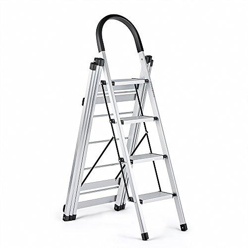 Delxo 2 in 1 Aluminum Lightweight 4 Step Ladder Step Stool M