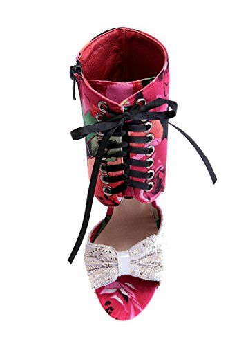 - Sky-Pegasus New Sexy Women Sandal Sweet Mesh High Help Lace-up Sandals Beautiful High Heels Size 32-43,red,10