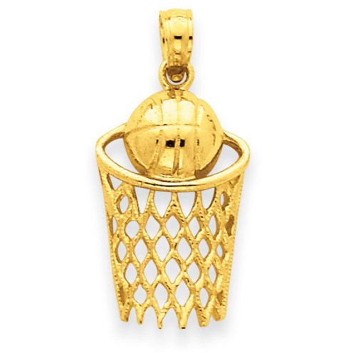 - 14k Yellow Gold Basketball Net Pendant Charm Necklace Sport Fine Jewelry Gifts For Women For Her
