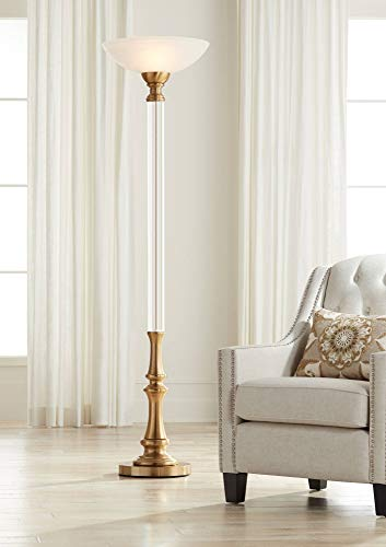 (Rolland Warm Antique Brass and Crystal Torchiere Floor Lamp - Vienna Full Spectrum)
