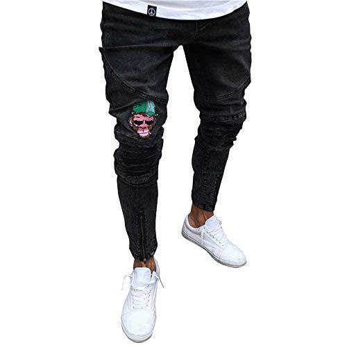 Vaqueros Pantalones Jeans Suncaya Hombres Agujero 1892 Personalidad Pitillo Elasticos Pantalón Rq5CU5xw