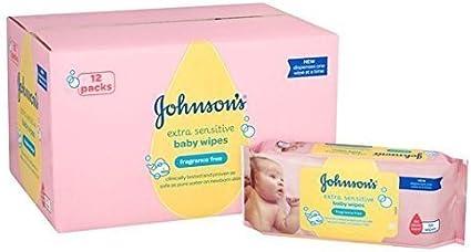 Bebé de Johnson extra Toallitas Sensible 12 x 56 por paquete: Amazon.es: Bebé