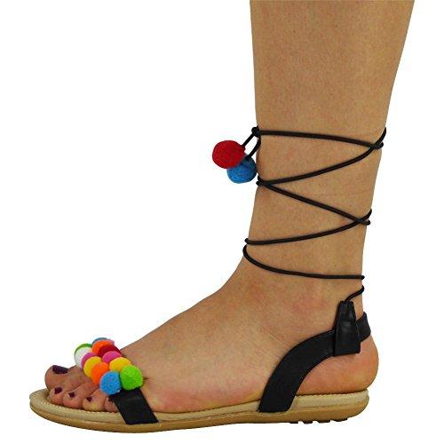 3 Womens Pom Up 8 Comfort Strap Sandali Ladies Taglia Shoes New Flats Lace Imbottiti Nero 1qwn7g47Td