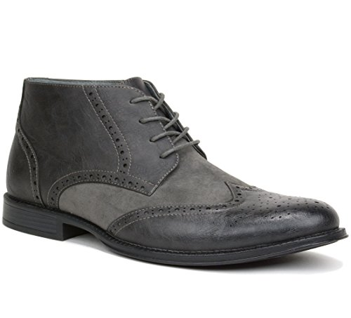 Men's Ankle Boots Brogue Wing Tip Dress Shoes Gray 11 M US (Brogue Shoe Boot)
