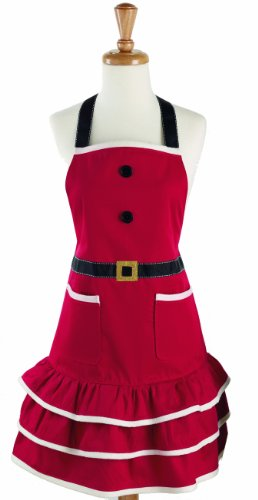 DII 100% Cotton, Holiday Women Cute Ruffle Apron, Kitchen Basic, Adjustable Neck & Waist Ties, Cooking, Baking, Crafting and More, Christmas Gift - Mrs. (Mrs Claus Christmas)