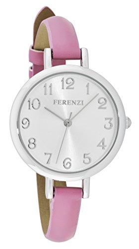 Ferenzi Women's | Classy Large White Face Watch with Thin Rose Band | FZ15508