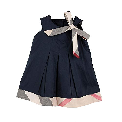 Price comparison product image Sweety Girls' Pleated Plaid Panel Trim & Ribbon Belt Short Sleeve Trapeze Dress, Blue 18-24 Months