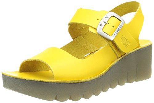 Fly London P143907003, Sandalias de Cuñas Mujer Amarillo (Lemon 005)