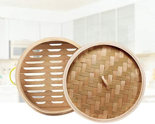 41jujuQdPeL. AC DOITOOL Natural Bamboo Steamer Basket Set with Handle and Lid 20cm Traditional Chinese Steamer Basket Food Steaming Pot for Dumpling Bao Bun Dim Sum     Description 2 pcs Bamboo Steamer Kitchen Round Buns Steamer Cookware Food Steamer Cooking Tools for Restaurant Home