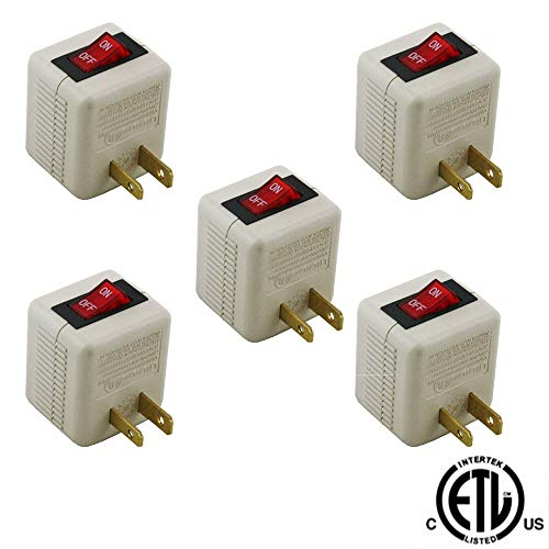 Wideskall 2 Prong AC Power Wall Plug On/Off Switch Tap Adapter ETL Certified (Pack of 5)
