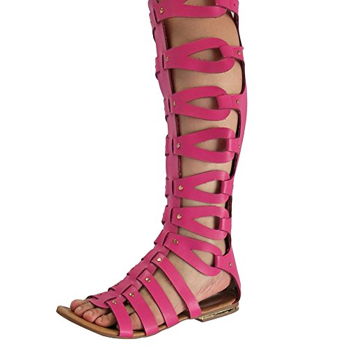 OCHENTA Womens Cut Out Flat Knee Boots Gladiator Sandals Rose Red NzkVpI