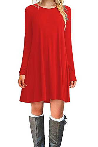 WIWIQS Women's Casual Swing T-Shirt Dresses Long Sleeve Loose Tank Top Plus Size Dress,Red XL (Small Singer Dress Form)