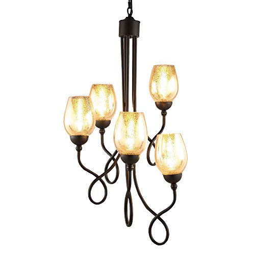 Wapipey American Antique Spiral Metal Ceiling Chandeliers Lights Creative 5-Lights E14 Wrought Iron Staircase Duplex Villa Hanging Lights Stairwell Living Room Glass Pendant Lights