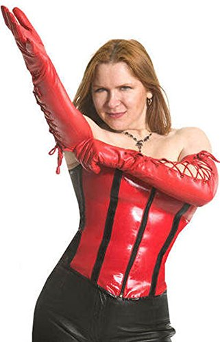 Scarlet Red – Unisex - Shoulder Length Lace-Up Leather Gloves - Size 6.5 ()