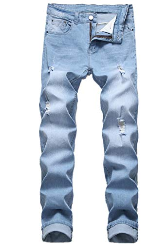 Distressed Denim Jeans Pants - FREDD MARSHALL Men's Ripped Distressed Fashion Elastic Waist Straight Slim Fit Denim Jeans Long Pants