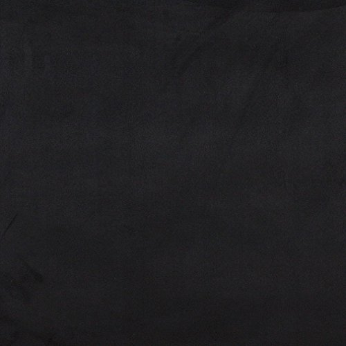 C053 Black Solid Microsuede Microfiber Suede Ultra Durable Upholstery Grade Fabric by The Yard (Black Fabric Micro Suede)