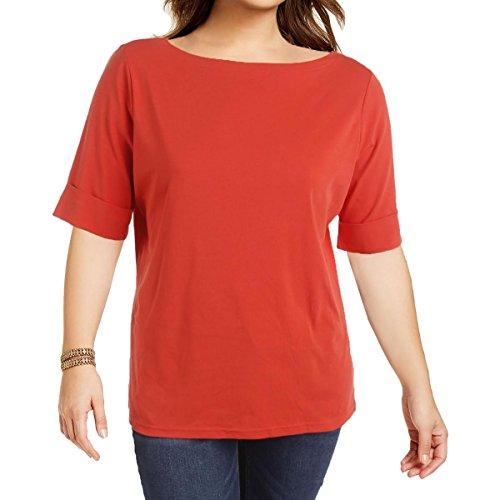 Lauren Ralph Lauren Womens Plus Judy Knit Stretch Casual Top Orange 1X by Lauren by Ralph Lauren