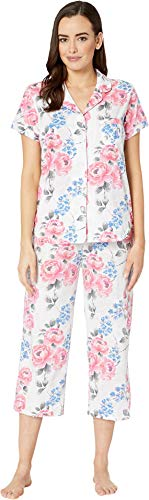 Karen Neuburger Womens Cosmopolitan Short Sleeve Girlfriend Capris PJ Floral/Pink XL (Women's 18-20)