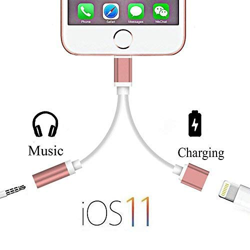 iPhone Charger and Aux Adapter, 2 in 1 Lightning to 3.5mm Aux Headphone Jack Audio and Charger Adapter, Compatible with iOS 10.3 iOS 11 or Later (Rose gold)
