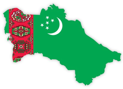 "Turkmenistan map flag sticker decal 5"" x 4"""