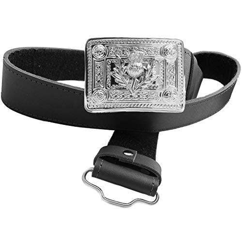 Black Leather Kilt Belt & Thistle Buckle - S 22