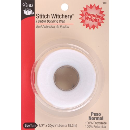 Dritz 222 Stitch Witchery, Regular Weight, 5/8-Inch X 20-Yards, White ()