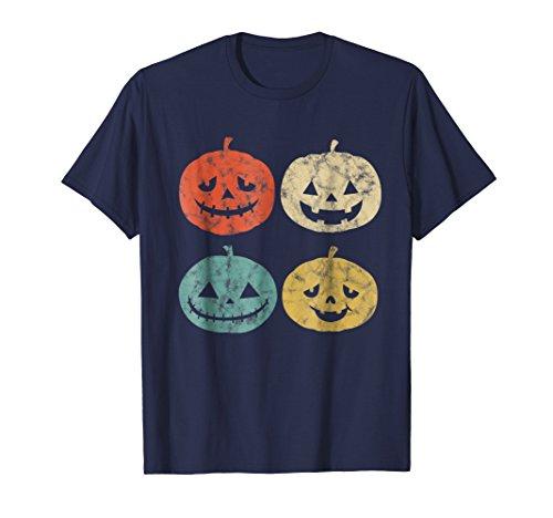 Mens Vintage Pumpkin T-Shirt Funny Pumpkin Halloween Gift Shirt 3XL Navy -