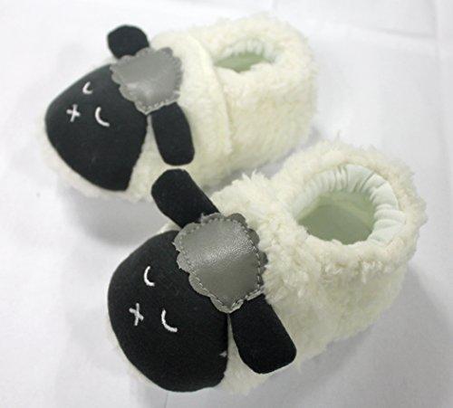 M2cbridge Baby Plush Animal Sheep Booties Warm Slipper (11cm, White)