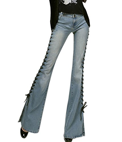 Rise Bell - ZQYO Women's Fashion Bandage Mid-Rise Bell-bottom Wide Leg Flare Denim Pants Jeans Trousers, Blue, Small