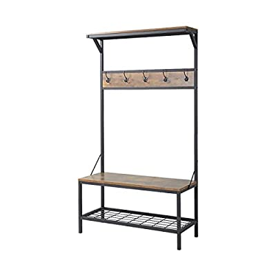 J and A Accessories Hall Tree Made of Manufactured Wood & Metal Frame Construction With Bench in Antique Brown Color Organize Your Entryway Now - Corral clutter in your entryway as you reel in a touch of rustic style with this hall tree. Founded atop a black-finished metal frame, this budget-friendly piece features an upper shelf and bench seat crafted from laminated particleboard with a textured antique wood finish for a well-worn look. A row of five hooks invites you to hang up coats, keys, and other out-the-door essentials, while an open wire-like tier down below provides even more storage space. After assembly, it supports up to 150 pounds. Material: Manufactured Wood. Storage Bench Included: Yes. Hooks Included: Yes. Assembly Required: Yes. - hall-trees, entryway-furniture-decor, entryway-laundry-room - 41jumKDE7YL. SS400  -
